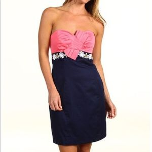 Lilly Pulitzer Coral Navy Strapless Dress